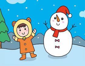 堆雪人的小女孩彩色画法教程【彩色】