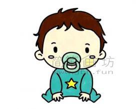 吃奶嘴的小宝宝简笔画绘画步骤【彩色】