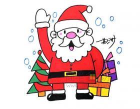 和蔼可亲的圣诞老爷爷简笔画绘画步骤【彩色】
