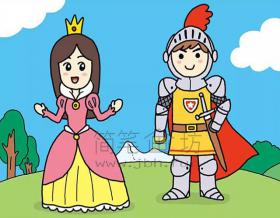 公主与勇士简笔画绘画步骤【彩色】