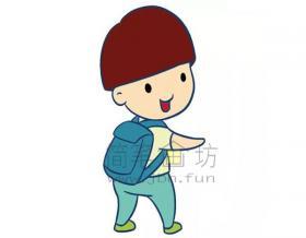 锅盖头小男生简笔画画法【彩色】