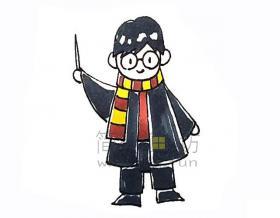 哈利波特简笔画画法步骤教程图片大全【彩色】