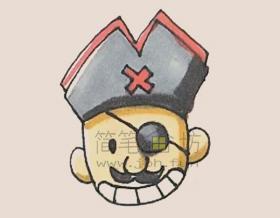 海盗头像简笔画画法步骤图文教程【彩色】