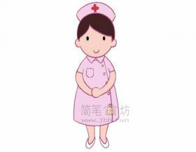 纯洁的护士简笔画绘画步骤【彩色】