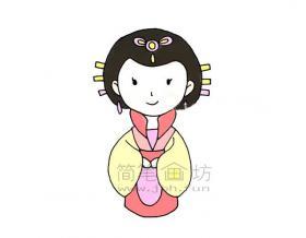 古代美丽的公主简笔画绘画步骤【彩色】