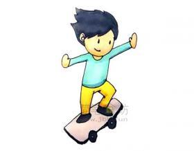玩滑板的小男孩简笔画画法【彩色】