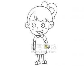 美丽的小女孩简笔画画法教程