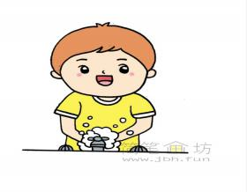 勤洗手预防肺炎简笔画绘画步骤教程【彩色】