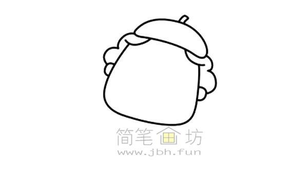 拿毛笔的老爷爷简笔画绘画步骤图解教程【彩色】(2)