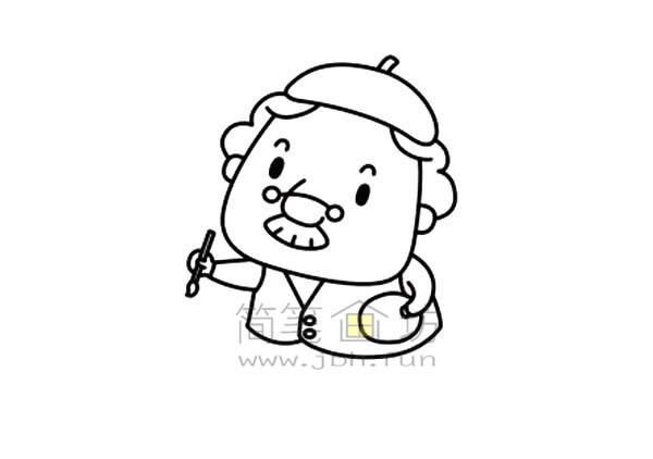 拿毛笔的老爷爷简笔画绘画步骤图解教程【彩色】(4)