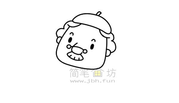 拿毛笔的老爷爷简笔画绘画步骤图解教程【彩色】(3)