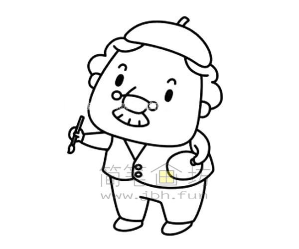 拿毛笔的老爷爷简笔画绘画步骤图解教程【彩色】(5)