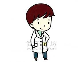 美丽的女医生简笔画绘画步骤【彩色】