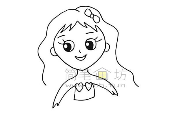 美丽的美人鱼简笔画绘画步骤【彩色】(7)