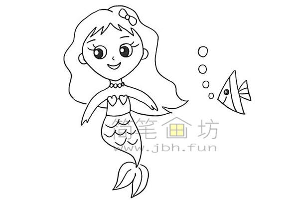 美丽的美人鱼简笔画绘画步骤【彩色】(12)
