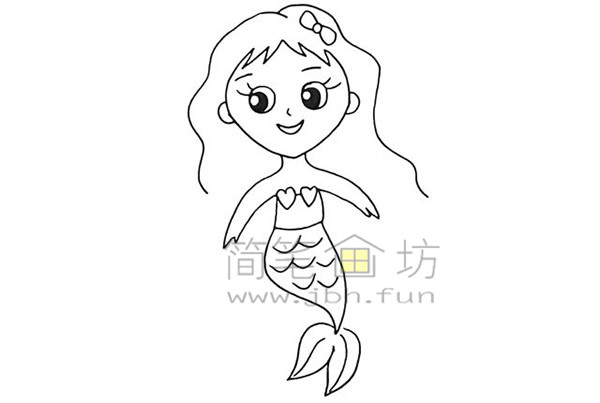 美丽的美人鱼简笔画绘画步骤【彩色】(10)