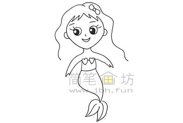 美丽的美人鱼简笔画绘画步骤【彩色】(9)