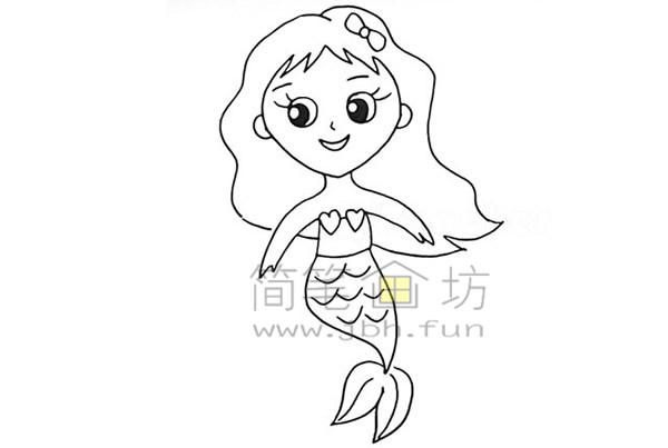 美丽的美人鱼简笔画绘画步骤【彩色】(11)