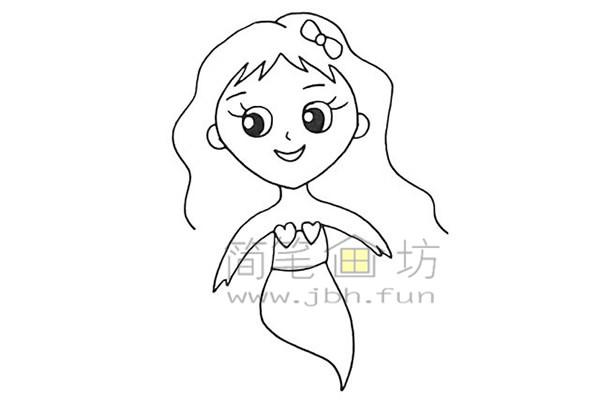 美丽的美人鱼简笔画绘画步骤【彩色】(8)