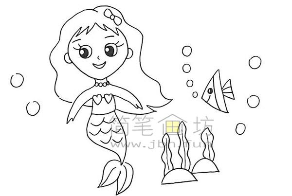 美丽的美人鱼简笔画绘画步骤【彩色】(14)