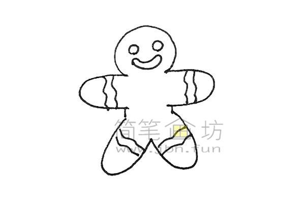 可爱的姜饼人简笔画绘画步骤【彩色】(5)