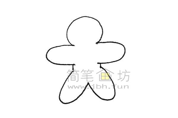 可爱的姜饼人简笔画绘画步骤【彩色】(3)