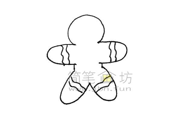 可爱的姜饼人简笔画绘画步骤【彩色】(4)
