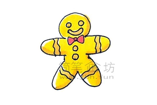 可爱的姜饼人简笔画绘画步骤【彩色】(7)