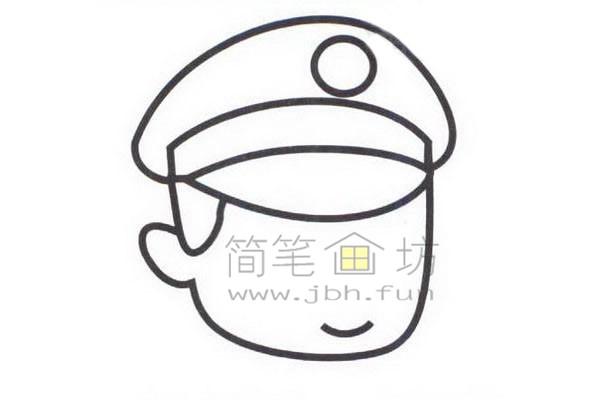 警察简笔画绘画步骤教程【彩色】(2)
