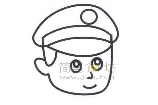 警察简笔画绘画步骤教程【彩色】(4)