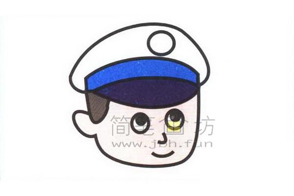 警察简笔画绘画步骤教程【彩色】(5)