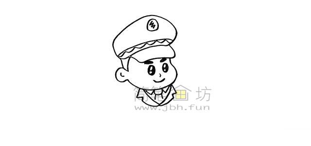 警察叔叔简笔画画法教程【彩色】(6)
