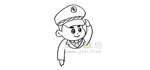 警察叔叔简笔画画法教程【彩色】(7)