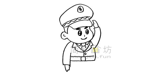 警察叔叔简笔画画法教程【彩色】(8)