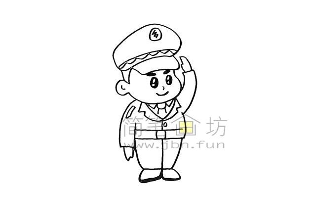 警察叔叔简笔画画法教程【彩色】(9)