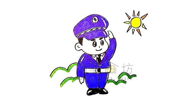 警察叔叔简笔画画法教程【彩色】(11)