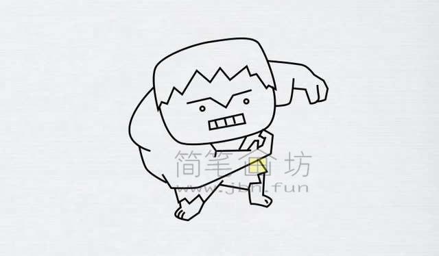 绿巨人简笔画绘画步骤【彩色】(2)