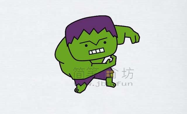 绿巨人简笔画绘画步骤【彩色】(3)