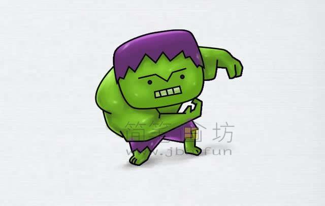 绿巨人简笔画绘画步骤【彩色】(5)