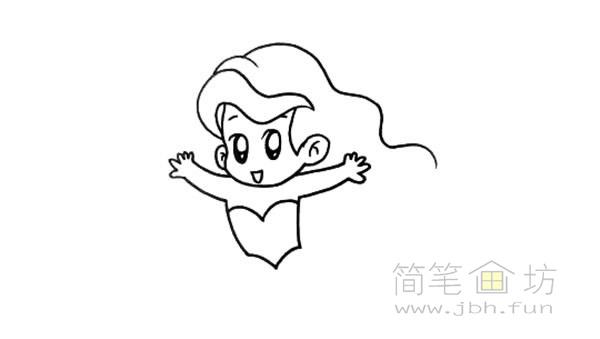 卡通美人鱼简笔画彩色画法【彩色】(4)
