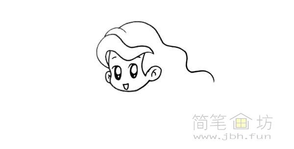 卡通美人鱼简笔画彩色画法【彩色】(3)