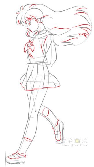 卡通美少女简笔画画法步骤教程(6)