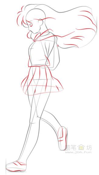 卡通美少女简笔画画法步骤教程(5)