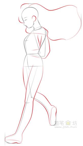 卡通美少女简笔画画法步骤教程(4)