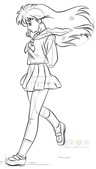 卡通美少女简笔画画法步骤教程(7)