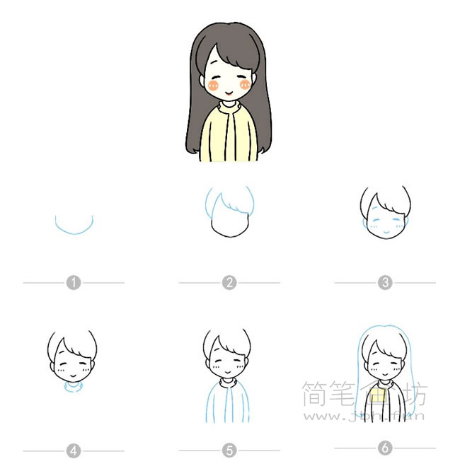 卡通女孩简笔画及步骤图解【彩色】(9)