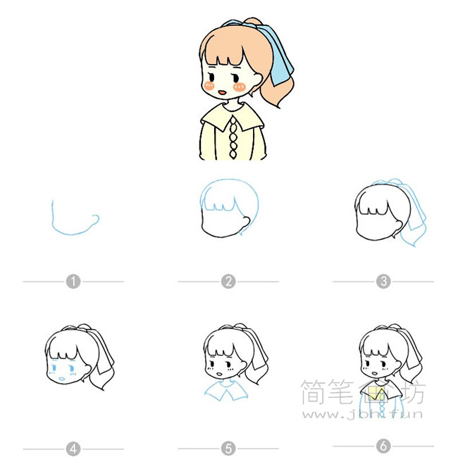 卡通女孩简笔画及步骤图解【彩色】(2)