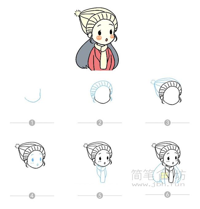 卡通女孩简笔画及步骤图解【彩色】(6)