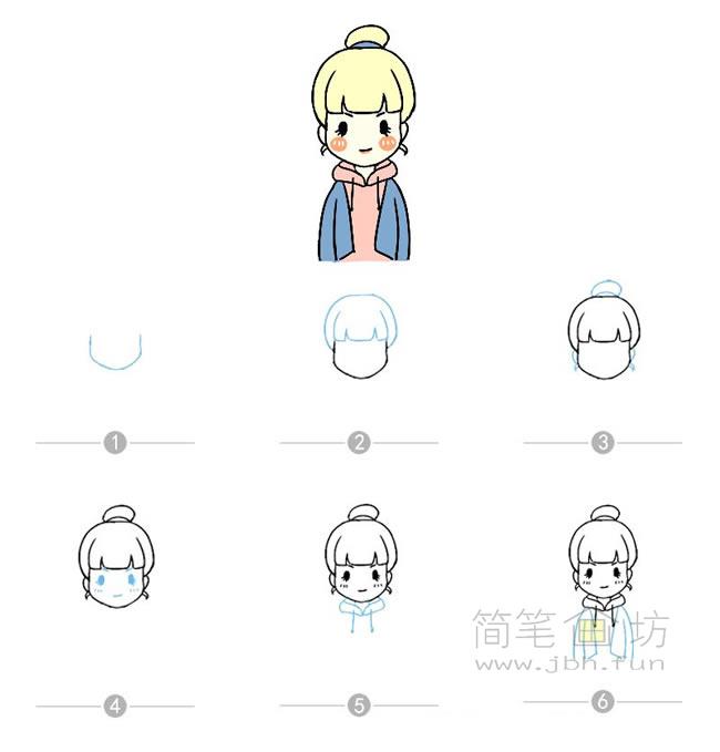 卡通女孩简笔画及步骤图解【彩色】(3)