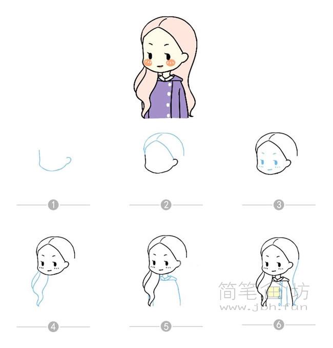 卡通女孩简笔画及步骤图解【彩色】(8)